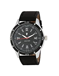 Swiss Trend Stylish Mens Watch With Black Dial And Genuine Leather Strap(Artshai1651)