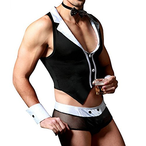 iiniim Mens Maid Roleplay Outfit Tops with Thong Collar Handcuffs Lingerie Set