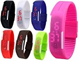 Pappi Boss Unisex Multicolor Set of 7 Digital Rubber Jelly Slim Silicone Sports Led Smart Band Watch for Boys, Girls, Men, Women, Kids - COMBO OFFER EXTREME DISCOUNT DEAL