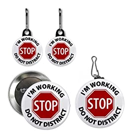 STOP DO NOT DISTRACT DOG Medical Alert Button Tag Zipper Pull Charms
