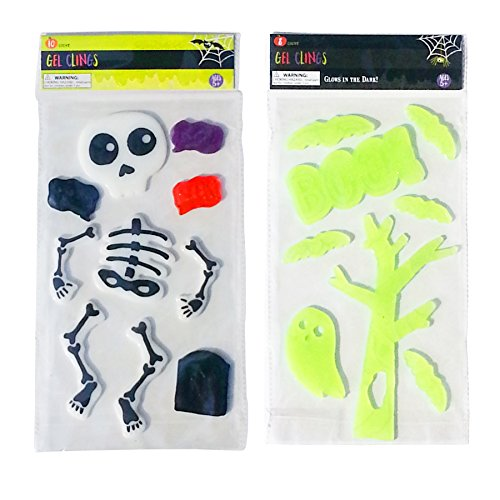 Scary Halloween Skeleton and Glow In The Dark Window Gel Clings For Home and Classroom ()