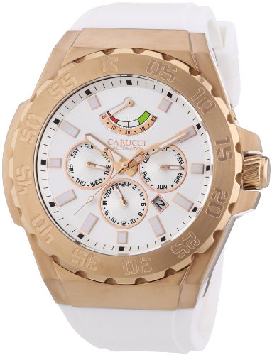 Carucci Watches CA2204RG-WH - Reloj de pulsera hombre, caucho