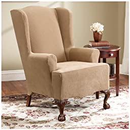 Sure Fit Stretch Pearson Wing Chair Slipcover, Dark Flax