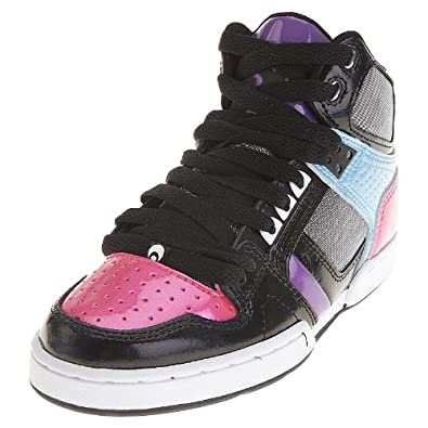 Osiris Women's NYC 83 SLM Skate Shoe,Black/Cyan/Pink,9 M US