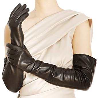"WARMEN Super Long 22"" Women Genuine Soft Nappa Leather Opera Gloves (M, Black)"