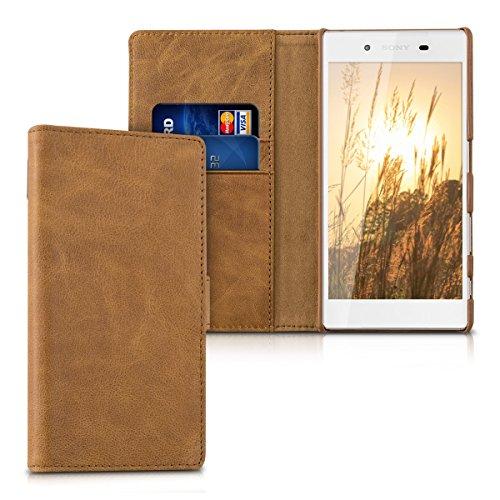 kalibri-Leder-Hlle-James-fr-Sony-Xperia-Z5-Echtleder-Schutzhlle-Wallet-Case-Style-mit-Karten-Fchern-in-Cognac