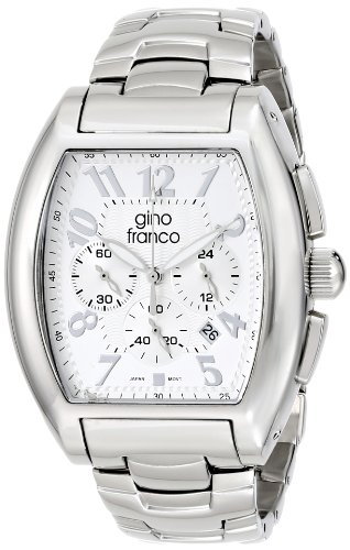 gino franco Men's 9642SL Barrel Shaped Stainless Steel Chronograph Bracelet Watch