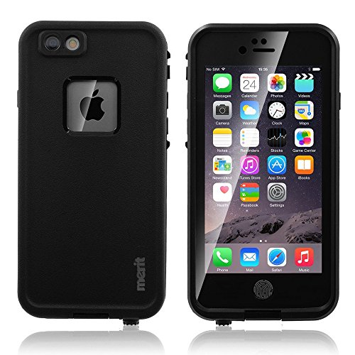 iPhone 6 Waterproof Case, Merit Air Series IP68 Certified Waterproof Shockproof Snowproof Dirtpoof Protective Case Cover for iPhone 6 4.7 inch(Black)