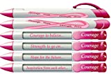 "Greeting Pen ""Courage"" Breast Cancer Awareness Pens with Rotating Messages, 6 Pen Set (36351)"