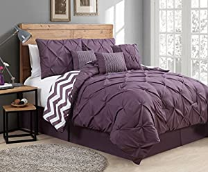 Geneva Home Fashion 7 Piece Venice Pinch Pleat, Queen, Plum
