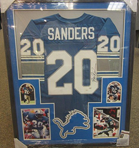 BARRY SANDERS DETROIT LIONS SIGNED AUTOGRAPHED FRAMED HOME JERSEY JSA CERTIFIED COA (Barry Sanders Auto compare prices)