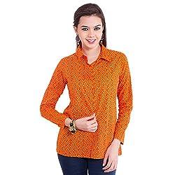 TUNTUK Women's Aryana Shirt Orange Cotton Shirt