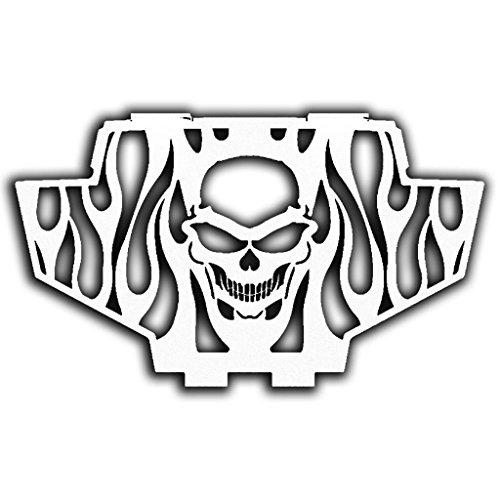 Skull Flame White Powdercoat Radiator Grill Guard Cover fits: 2011-2014 Polaris RZR 900 - Ferreus Industries - GRL-141-09-White (2011 Rzr Grill compare prices)