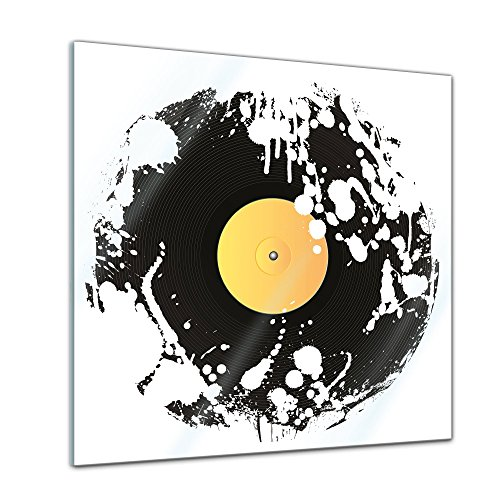 Bilderdepot24-Glasbild-Grunge-Schallplatte