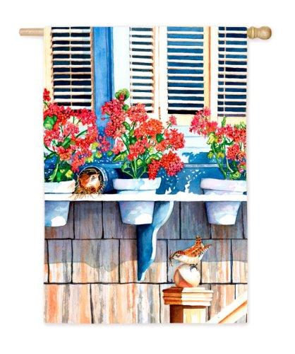 Window Sil Flowers Nest Anticipation Mini Flag