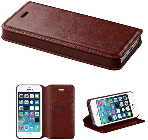Mylife Chestnut Brown - Modern Design - Textured Koskin Faux Leather (Card And Id Holder + Magnetic Detachable Closing) Slim Wallet For Iphone 5/5S (5G) 5Th Generation Smartphone By Apple (External Rugged Synthetic Leather With Magnetic Clip + Internal Se