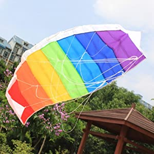 Large 1.4m Dual Line Control Rainbow Parachute Parafoil Stunt Sport Kite Beginner Beach Toy Esay to Fly