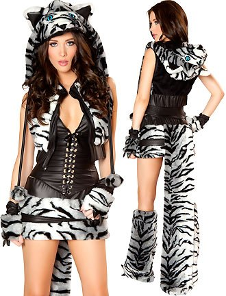 J. Valentine Women's Sexy White Tiger Costume 8 Piece Complete Set Hottest