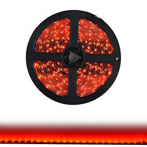 Hitlights Red Smd3528 Led Light Strip - 300 Leds, 16.4 Ft Roll, Cut To Length - Requires 12V Dc