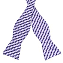 Pensee Mens Self Bow Tie Purple & Dark Purle & White Plaids & Checks Silk Bow Ties