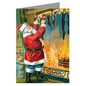 Traditional Santa Hanging Stockings By The Fireplace Hearth Christmas Eve Vintage Holiday Greeting Cards Boxed Set