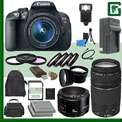 Canon EOS Rebel T5i Digital SLR Camera Kit with 18-55mm STM Lens and Canon EF 75-300mm III Lens and Canon 50mm f/1.8 Lens + 16GB Green's Camera Package