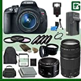 Canon EOS Rebel T5i Digital SLR Camera Kit with 18-55mm STM Lens and Canon EF 75-300mm III Lens and Canon 50mm f 1.8 Lens + 16GB Green's Camera Package