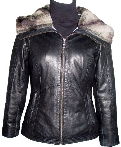 Paccilo FREE tailoring Womens 4000 Plus Size Short Leather Jacket Parka