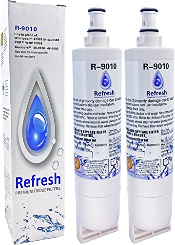 2 pack Whirlpool 4396508, 4396510 Premium Water Filter by Refresh - EDR5RXD1, NLC240V EveryDrop Filter 5, Kitchenaid Maytag Refrigerator Filter (Whirlpool Everydrop Filter compare prices)