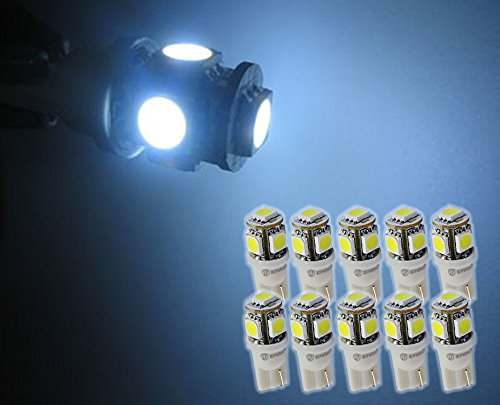 Zone Tech 10x T10 194 168 2825 5-smd White High Power SUPER BRIGHT LED Car Lights Bulb (Car Led Lights Orange compare prices)