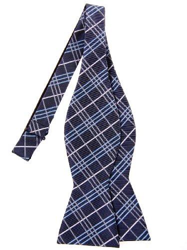 Retreez Tartan Plaid Check Styles Woven Microfiber Self Tie Bow Tie - Navy Blue
