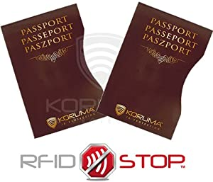 100% RFID Blocking Biometric Passport Protector ID Theft Protection Travel Holiday Sleeve (BR 2 PACK)