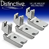 """Distinctive 1-4"""", 1-8"""" and 3-16"""" Large Piping/Welting Sewing Foot Package - Fits All Low Shank Singer, Brother, Babylock, Euro-Pro, Janome, Kenmore, White, Juki, New Home, Simplicity, Elna and More!"""