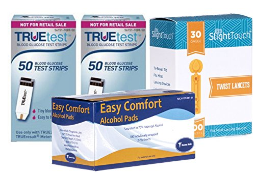 TrueTest Test Strips 100 Count + 100 30g Slight Touch Lancets + 100 Alcohol Pads