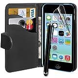 ® Noir Connect Zone Étui portefeuille en cuir synthétique pour Apple iPhone 5C Porte-cartes Film de protection d'écran Chiffon nettoyant Stylet & de haut