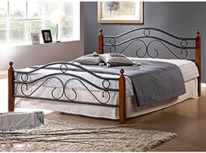 Lit Design en metal noir, pieds de lit en bois malaisiens marron, Dim: 180 x 200 cm -PEGANE-