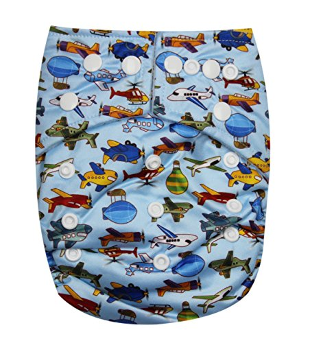 See Diapers Pocket Baby Cloth Diaper 2 Microfiber Inserts Adjustable (Airplane)
