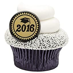 2016 Gold Foil Graduation Party Cupcake Rings (24-Pack)