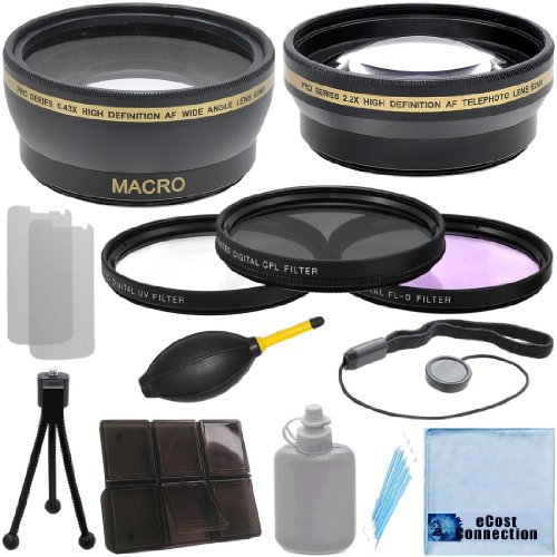 Pro Series 62Mm 0.43X Wide Angle Lens + 2.2X Telephoto Lens + 3 Pieces Filter Sets With Deluxe Lens Accessories Kit For Sony Hdr-Ax1 Digital 4K Video Camera Recorder, Sony Hdr-Fx7, 3Cmos Hdv 1080I Camcorder, Sony Hvr-V1U Hdv Camcorder
