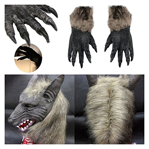 [Latex Animal Wolf Masks Fancy Dress Costumes Wolf Claw Gloves Theater Halloween Creepy Style] (Different Types Zombie Costumes)