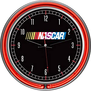 TG NASCAR Chrome Double Ring Neon Clock, 14-Inch, Black by TG