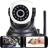 VideoSecu IP Wireless Video Audio Baby Monitor Day Night Vision Security Camera with Pan Tilt Wi-Fi for iPhone, iPad, Android Phone or PC Remote View IPP105B 1U5