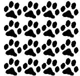 16 Dog Pawprints Vinyl Wall Decal - Black