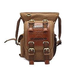 Vintage Canvas Shoulder Messenger Leg Bag Sling School Bags Chest Leather Patchwork Messenger Bag (Khaki)