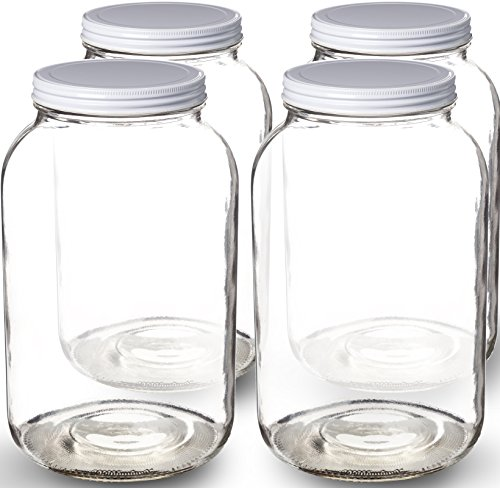 Paksh Novelty Wide Mouth 1 Gallon Clear Glass Jar + Metal Lid With Airtight Liner Seal • Use for Fermenting Kombucha / Kefir, Storing and Canning • USDA Approved, Dishwasher Safe (4) (Jar Lid Vacuum compare prices)