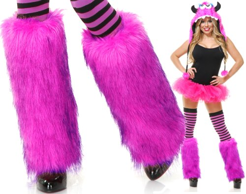 Charades Adult Rave Monster Costume Furry Pink Leg Warmers