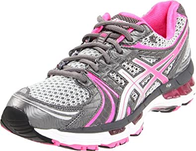 ASICS Women's GEL Kayano 18 Running Shoe,Titanium/Hot Pink/Lightning,8 M US