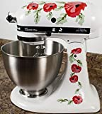Red Poppy Flowers Watercolor Kitchenaid Mixer Mixing Machine Decal Art Wrap