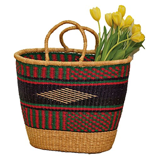 African Baskets: Colorful Grass Market Basket African Hand Woven Tote Carry
