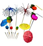 Fiesta Cocktail Decoration Party Set - 200 Piece | Cocktail Picks, Drinking Straws, Party Accessories